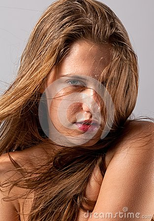 Wet Woman With Blowing Hair