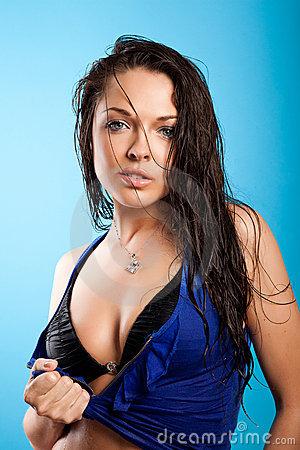 Wet woman in studio
