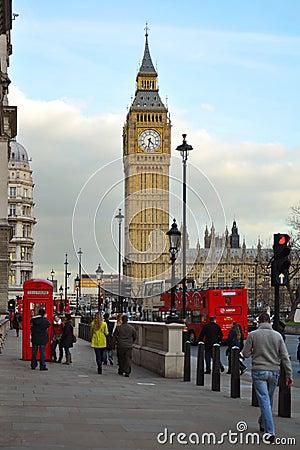 Wetminster: De Big Ben en het Parlement, Londen Redactionele Stock Afbeelding