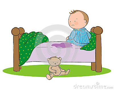 Wetting the bed Vector Illustration