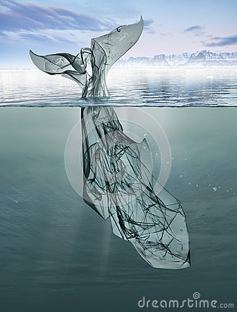 A whale of garbage plastic floating in the ocean. Stock Photo