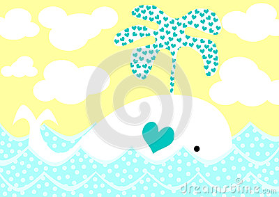 Whale splashing hearts valentines day card