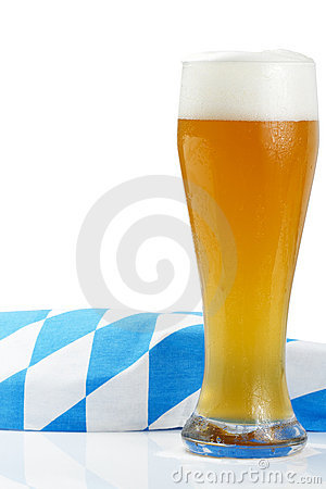 Wheat beer with bavarian towel