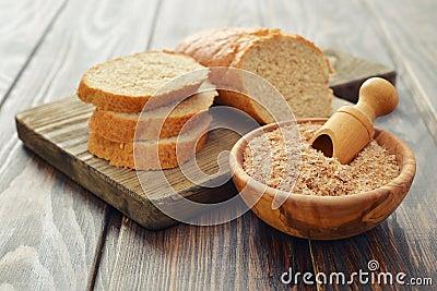 Wheat bran in bowl