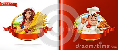 Wheat and Bread. Farmer and Baker. 3d vector Vector Illustration