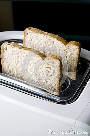 Wheat bread on toaster
