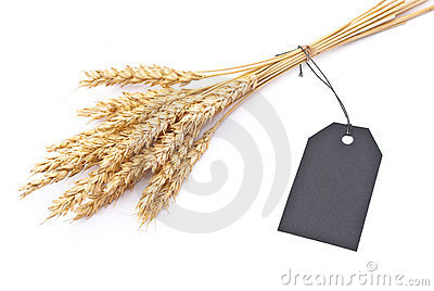 Wheat ears with black tag