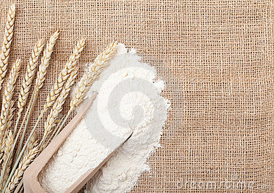 Wheat ears and flour