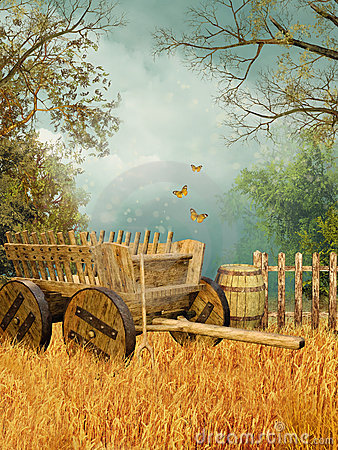 Free Wheat Field With A Cart Royalty Free Stock Photos - 20170608