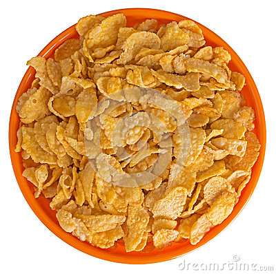 Sunshiny orange bowl of breakfast cereal cornflakes, isolated