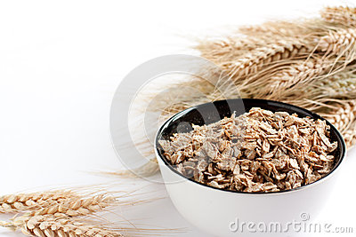 Wheat flakes and wheat spikelets