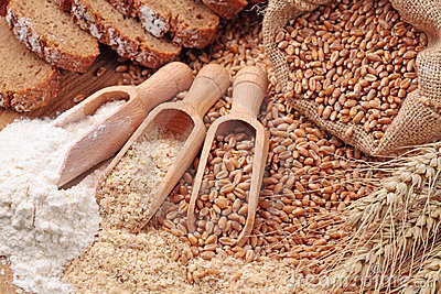 Wheat grains, bran and flour