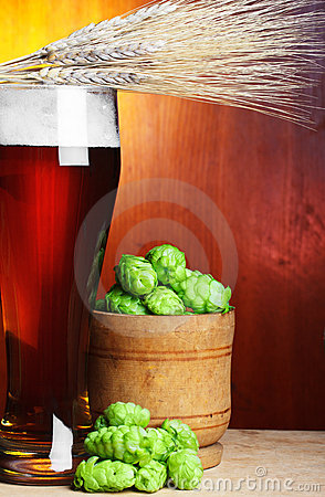 Wheat, hop and beer