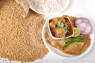 Wheat indian food - chapati & chicken