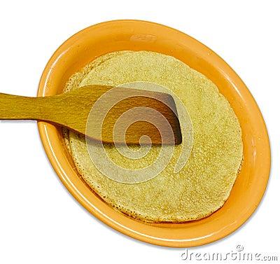 Free Wheat Pancakes And Stirrer On White Royalty Free Stock Photo - 36378565