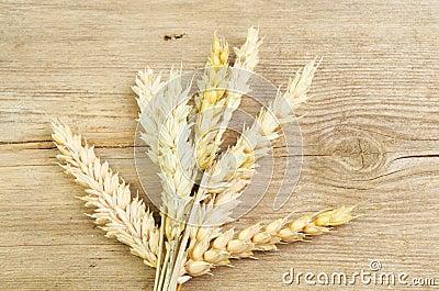 Wheat sheaf on wood