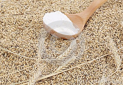 Wheat and spoon with flour.