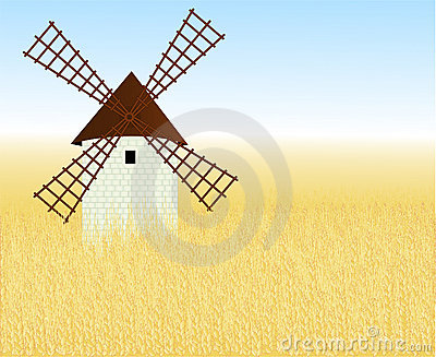Wheaten field with a mill