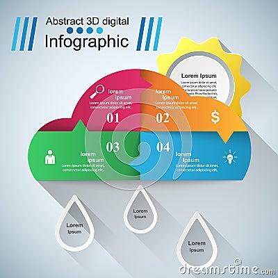 Wheather infographic. Sun, cloud, rain icon. Vector Illustration