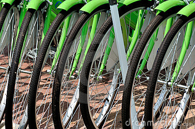 Wheel of bicycle in line