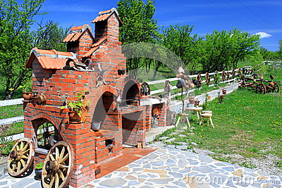 Wheel carts and brick oven
