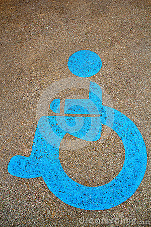 Wheel chair symbol on street
