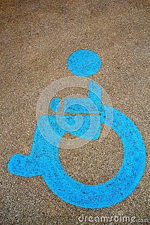Wheel chair symbol on street