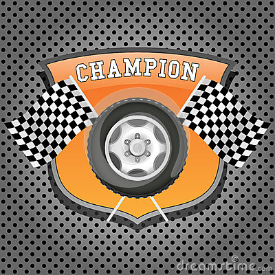 Wheel and checkered flags