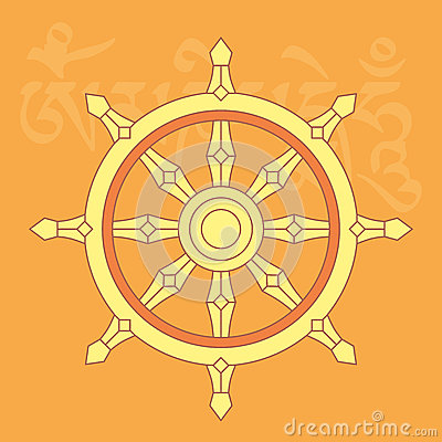 Wheel Of Dharma,one Of Eight Buddhist Religious Symbols Stock Vector ...