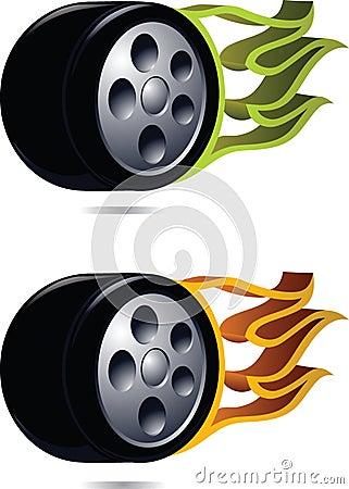 Wheel on fire.