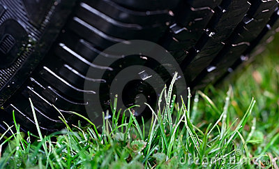 Wheel on the grass