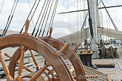 Wheel of large sailing ship