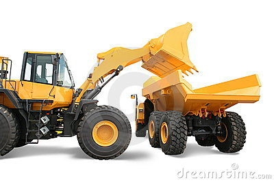 Wheel loader loading dumper