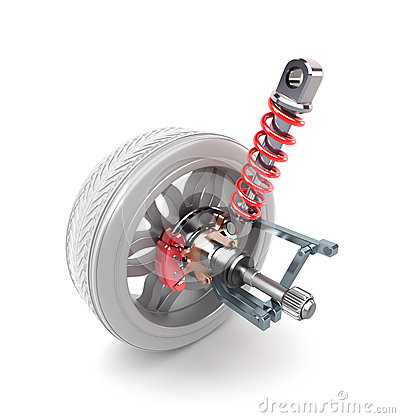 Wheel, shock absorber and brake pads