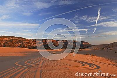 Wheel tracks on sand dunes
