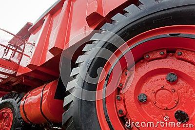 Wheel of vintage mining truck