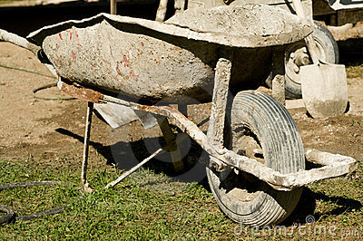 Wheelbarrow For Cement Mixing Royalty Free Stock Image - Image: 7693376