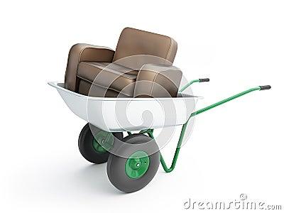 Wheelbarrow with leather armchair