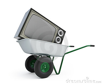 Wheelbarrow old tv