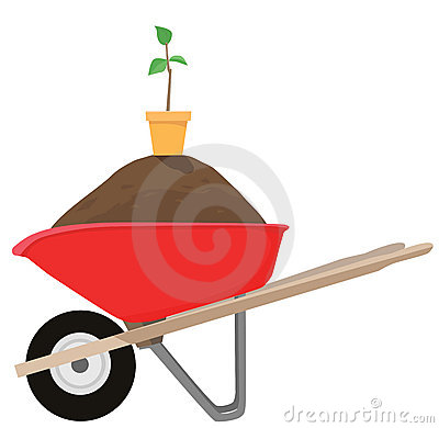 Free Wheelbarrow & Seedling Royalty Free Stock Images - 1139199
