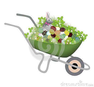 A wheelbarrow with spring grass. She has a gray gray rabbit and painted Easter eggs. The symbol of Easter in the culture of many Cartoon Illustration