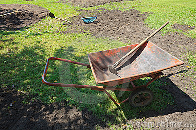 Wheelbarrow and trays with new garden preparing