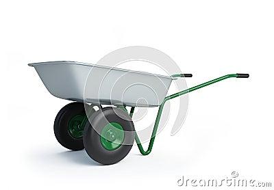 Wheelbarrow on a white background