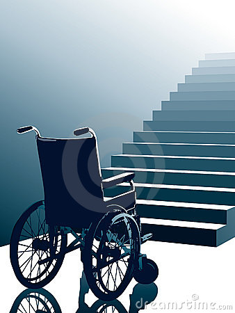 Free Wheelchair And Stairs, Vector Royalty Free Stock Images - 2946039