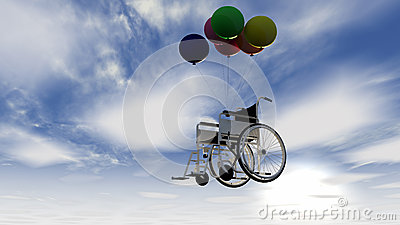 Wheelchair and balloons