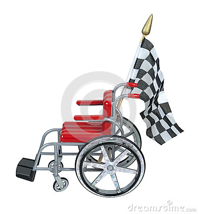 Wheelchair with Checkered Flag