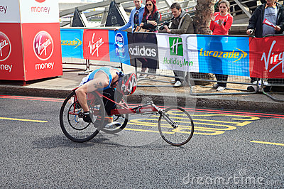 Wheelchair racer at London Marathon 2012 Editorial Image