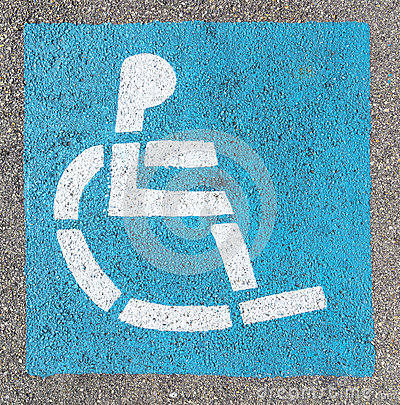 Wheelchair sign at the parking lot