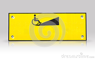 Wheelchair  way sign isolated with refection