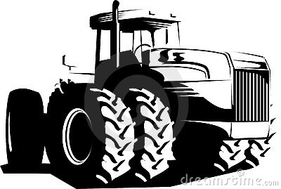 Wheeled tractor black and white